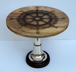 Wooden ship wheen designer board inlaid carved work coffee tea round table decor