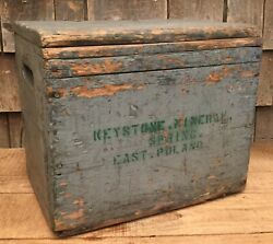 Vintage Keystone Mineral Spring East Poland Maine Glass Water Bottle Box Crate