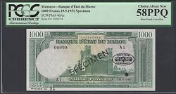 Morocco 1000 Dirhams 29-1-1951 P46as Specimen Tdlr About Uncirculated