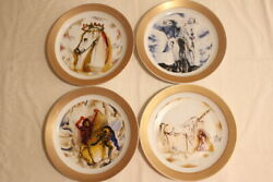 4 Plates The Horses Of Salvador Dalí Collection In Porcelain And Nº Gold 4000th