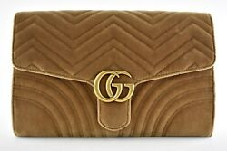 Gucci Marmont Brown Beige Taupe Velvet Matelasse Gold GG Logo Pouch Clutch Bag $1,392.75