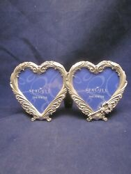 Seagull Pewter Picture Frame Pf854 Double Heart 1998 Etain Zinn Excelent