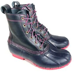 Rare Ll Bean Boots Womenand039s 8m Duck Boots Limited Edition Navy Blue And Pink
