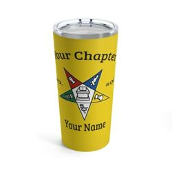 Order Of The Eastern Star Tumbler Masonic Cup Yellow Oes Gift