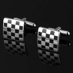 Fabulous Black And White Checkered Masonic Cufflinks Solid 935 Argentium Silver