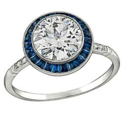 1.25 Ct White And Blue Round Cut Cz Art Deco Engagement Gifts Ring In 925 Silver