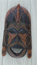 Home Decor Hand Carved Wooden African Mask .made In Kenya 1983.