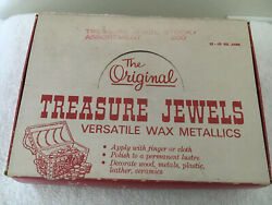 Box Of Vintage Treasure Jewels Metallic Wax Finish 9 Milk Glass Containers Nos