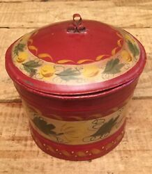 Antique Folk Art Hand Painted Candy Tin Can Canister Home Decor