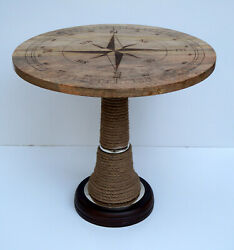 Wooden board compass designer inlaid carved coffee round table vintage look item