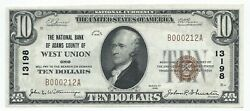 1929 10 West Union Oh Adams County National Currency Bank Note Ch 13198 Gem Unc