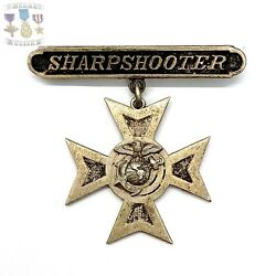 Wwii Us Marine Corps Sharpshooter Badge Ega Device Sterling Silver Hh Star Ww2