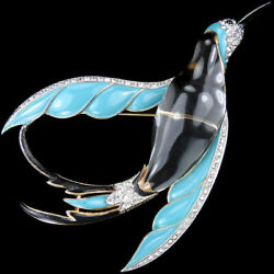 Trifari Philippe Jelly Belly Turquoise Black Winged Bird of Paradise in Flight P