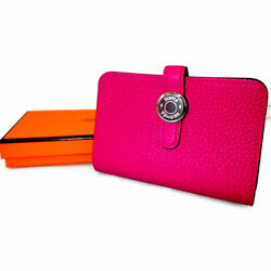 HERMES Dogon  Card Case Togo rose pink SilverHardware