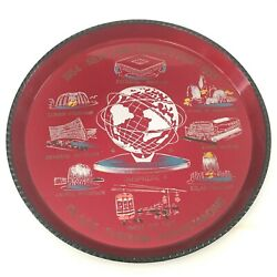 1964 1965 New York Worlds Fair Red Serving Tray Unisphere Ford Gm Excellent Mcm