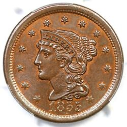 1855 N-1 Pcgs Ms 65 Bn Cac Upright 55 Braided Hair Large Cent Coin 1c