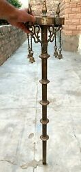 Vintage Old 19th C Collectible Brass Carved Use On Jain Temple Dhaja Dand
