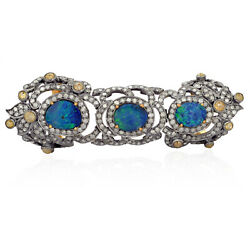 Doublet Opal Gold Finger Armor Ring Pave Diamond 925 Silver Jewelry