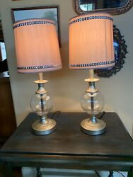 """2 Beige Silver Bling Clear Glass Vanity Boudoir Bedroom Table Lamps 20"""" Tall"""