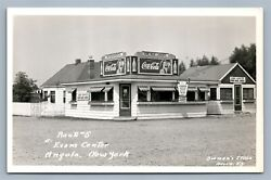 Angola Ny Evanand039s Center Vintage Real Photo Postcard Rppc Coca Cola Signs