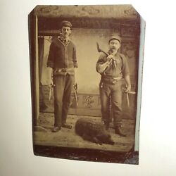 Rare Tintype, Men With Knives + Axe And Dog - Crisp Details - Weapons, Gents