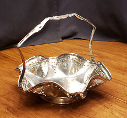 Benedict Epns Silverplate Ruffle Edge Basket 1114 Floral Bridle