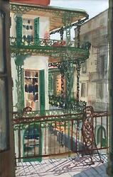 Robert Holdeman Ca -french Quarter View New Orleans 1953 - Labranche House