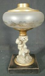 Antique Victorian Cut Glass Oil Lamp On A Figural Base Of Boy And Dog