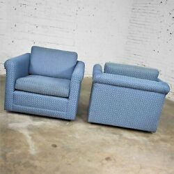 Pair Vintage Rolled Arm Tuxedo Style Cube Club Chairs Art Deco Hollywood Regency