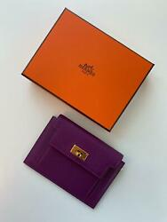 Hermes Kelly Wallet Compact Anemone GHW