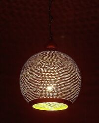 Handmade Small Moroccan Brass Ball Shaped Ceiling Lamp Shades Pendant