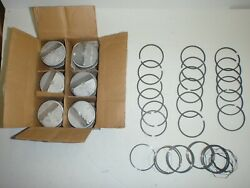 Set 6 Pistons With Pins And Rings .030 Size 63 64 65 Amc Rambler 195.6 Ohv 196 Six