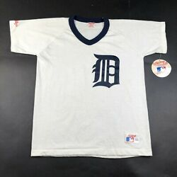 Vintage Detroit Tigers Youth Boys L White Jersey V Neck Made In Usa Nwt
