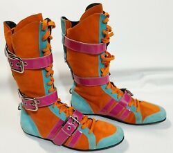 Dolce Gabbana Boots Dandg Mid Calf Flat Sole Multi Color Suede Womenand039s 10 - 11