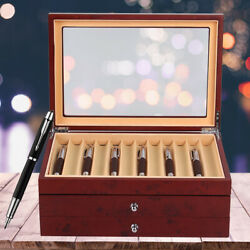 3-layer Wooden Box Fountain Pen Display Storage Wood Box For 34 Pens Us Stock