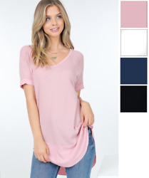 Women's Tunic Short Sleeves Summer Loose Tee Tops Solid Blouse Cute S M USA   $10.99