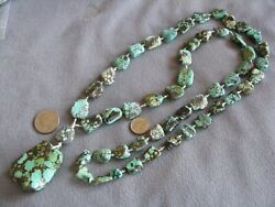 40 Vintage Semi-precious Turquoise Bead Necklace With Pendant 153.5 Grams