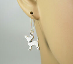 Chihuahua Dog Earrings - 925 Sterling Silver - Animal Pet Lover Hooks