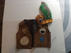 Vtg 1960's Ymca Indian Guides Leather Vest W/patches And Headdress - Cool