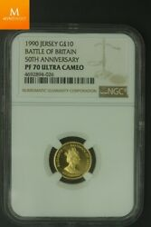 1990 Jersey Gold 10 Pounds Battle Of Britain Mintage 500 Ngc Pf70 Ucam