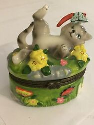 Unbranded Hinged Trinket Box-cat And Dragonfly Eb1126- Bumble Bee Inside