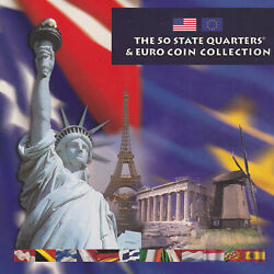 2002 The State Quarters And Euro Coin Collection United States Mint Box And Book
