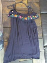 Women's Dress Size L Navy Blue Floral Embroidery Cold Shoulder Cute Style  $11.99