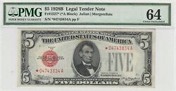 1928b 5 United States Note A Block Fr1527 Star Note Pmg 64 Ch Unc Red Seal