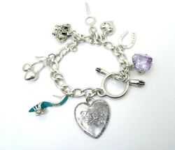 Juicy Couture Sterling Silver Bracelet W/ Rare Charms Crown Hearts Shoe Cherry