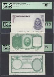 Portugal 3 Notes 20 Escudos Nd1941-60 P153p-163p Proof About Uncirculated