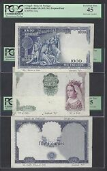 Portugal 3 Notes 1000 Escudos Nd1961 P166p Proof About Extremely Fine