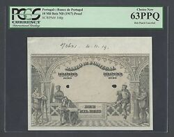 Portugal 10 Mil Reis Nd1917 P108p Proof Specimen Uncirculated