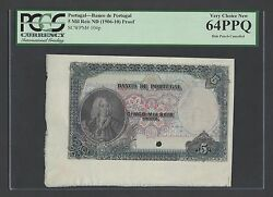 Portugal 5 Mil Reis Nd1906-10 P104p Proof Uncirculated