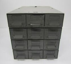 Vtg Set 4 Filing Cabinets Record Files Wooster 12 Drawers Industrial Metal 26x16